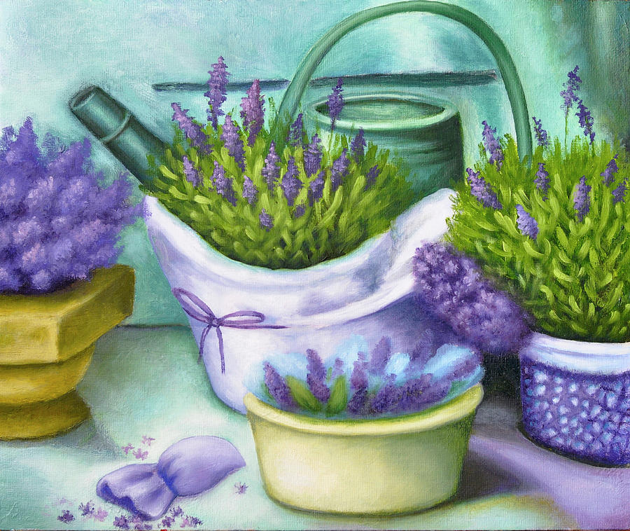 Lavender With A Watering Can Painting