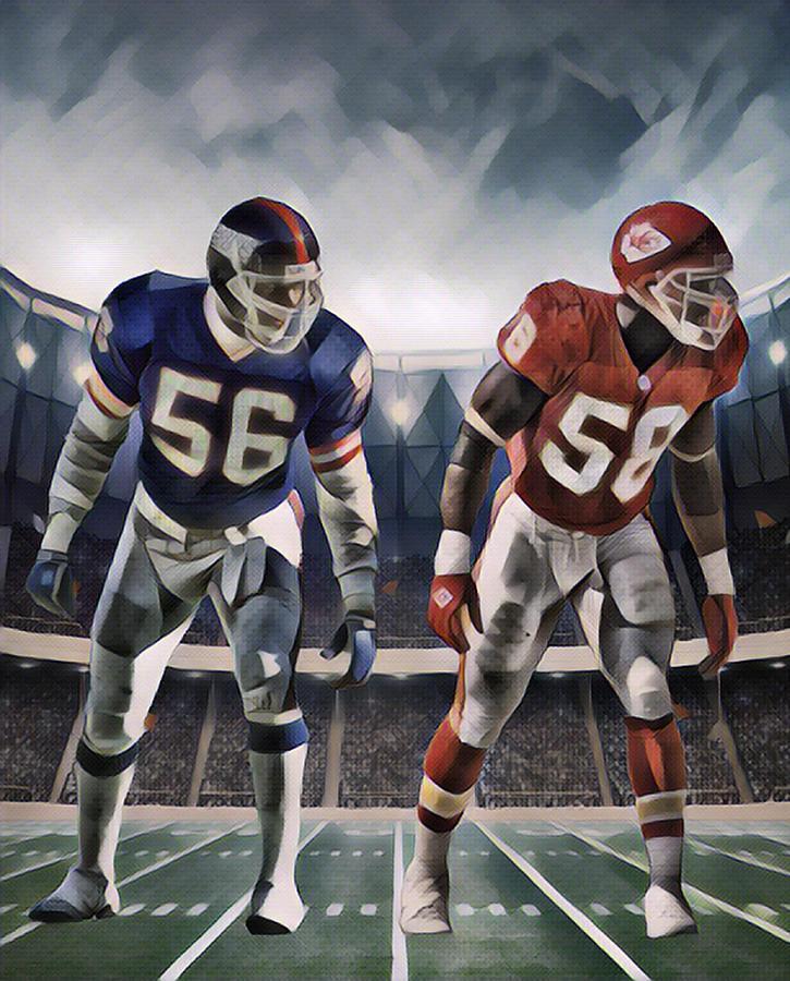 Giants Mixed Media - Lawrence Taylor New York Giants And Derrick Thomas Kansas City Chiefs Abstract Art 1 by Joe Hamilton