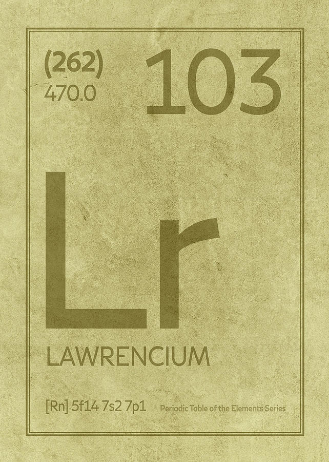 Lawrencium Element Symbol Periodic Table Series 103 Mixed Media By