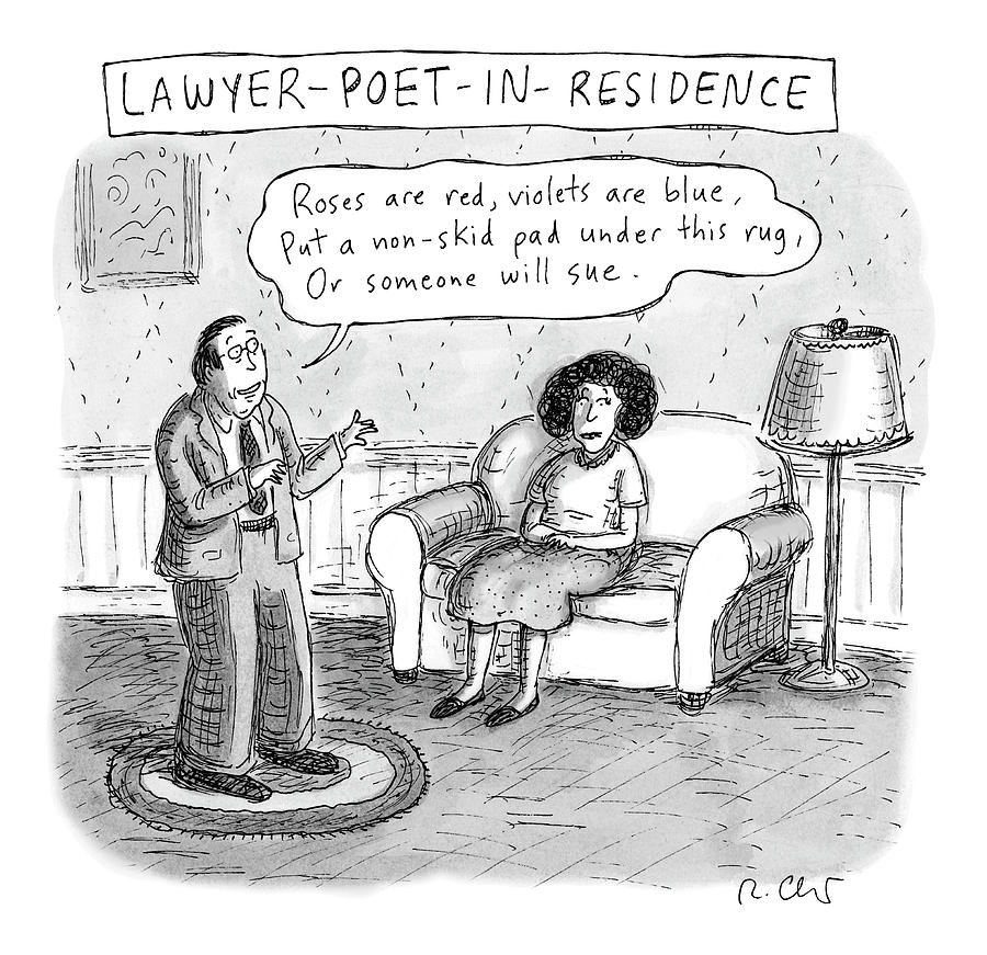Lawyer Poet In Residence Drawing by Roz Chast