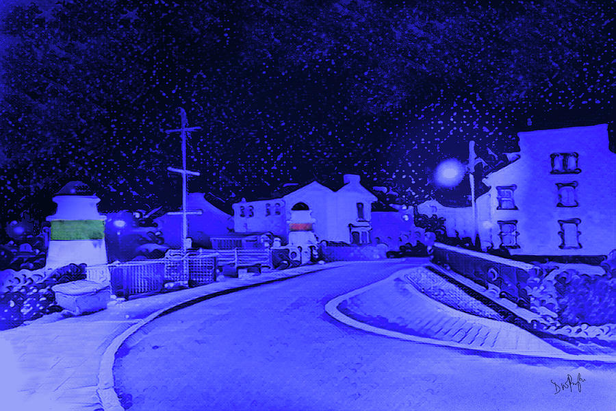 Laxey New Bridge in Snow by Digital Painting
