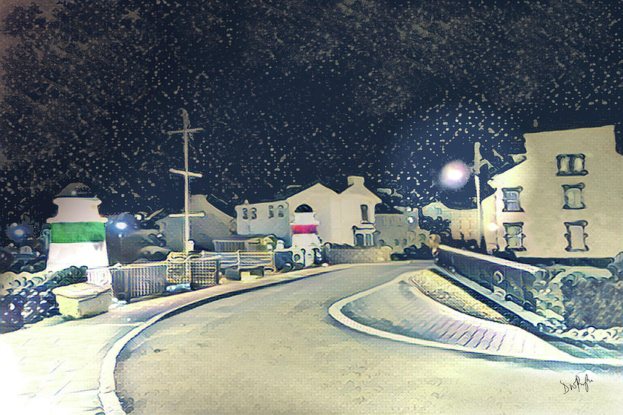 Laxey New Bridge on a Winter's Night by Digital Painting