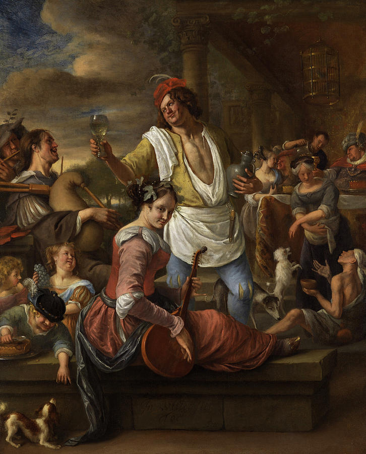 Jan Steen Painting - Lazarus And The Rich Man, In Luxury Beware by Jan Steen