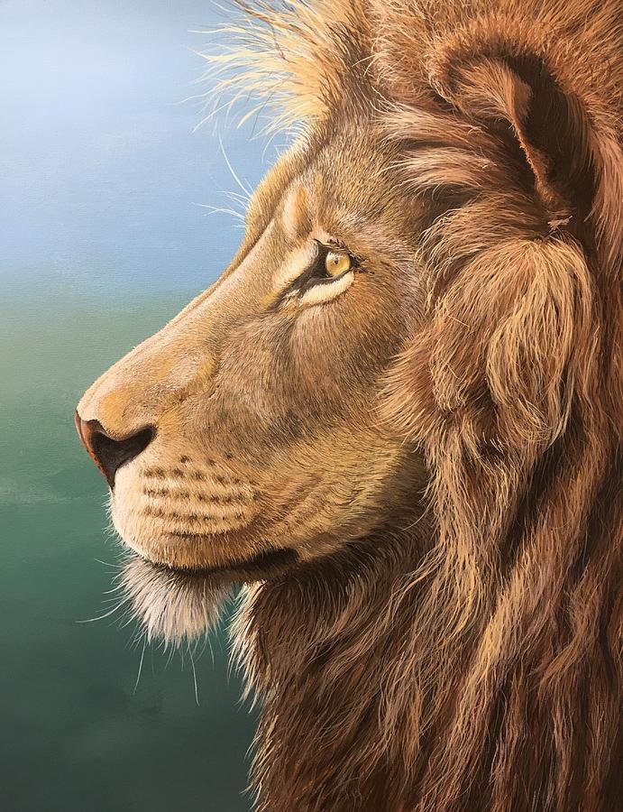 Lion Painting - Lazy Afternoon Lion Portrait by Nolan Clark