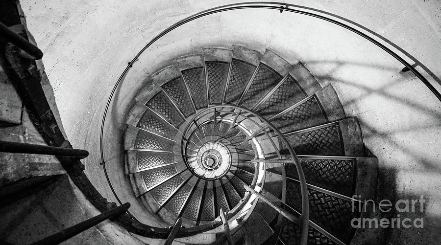 Napoleonic Photograph - Lblack And White View Of Spiral Stairs Inside The Arch De Triump by PorqueNo Studios