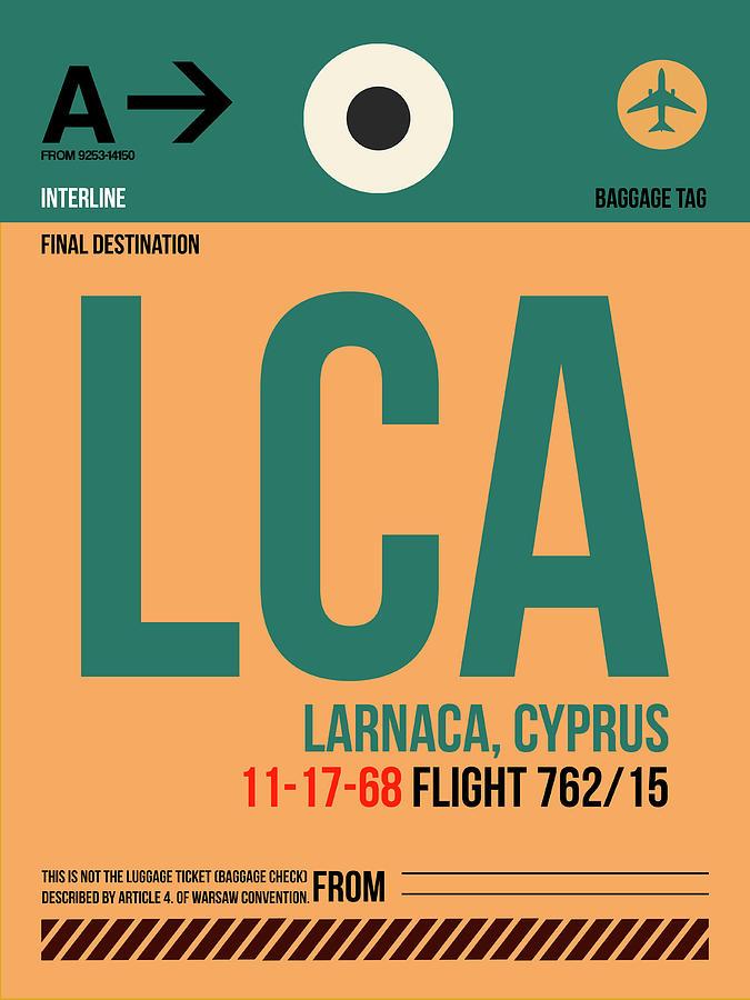 European Cities Digital Art - Lca Cyprus Luggage Tag I by Naxart Studio