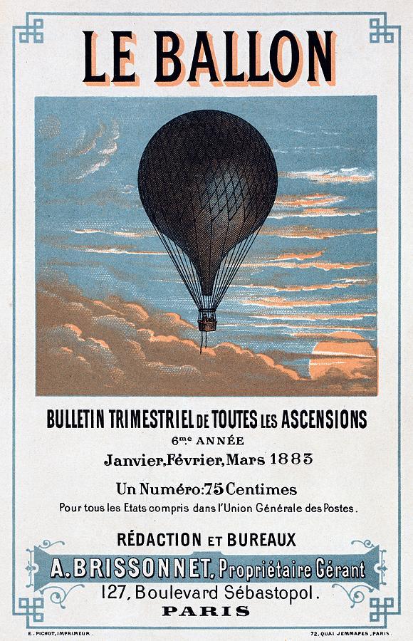 Art Noveau Painting - Le Ballon Aeronautical Journal, 1883 French Poster by E Pichot