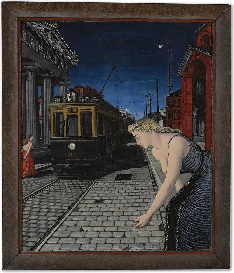 Le Tramway  Porte Rouge  Ephse  by Paul Delvaux