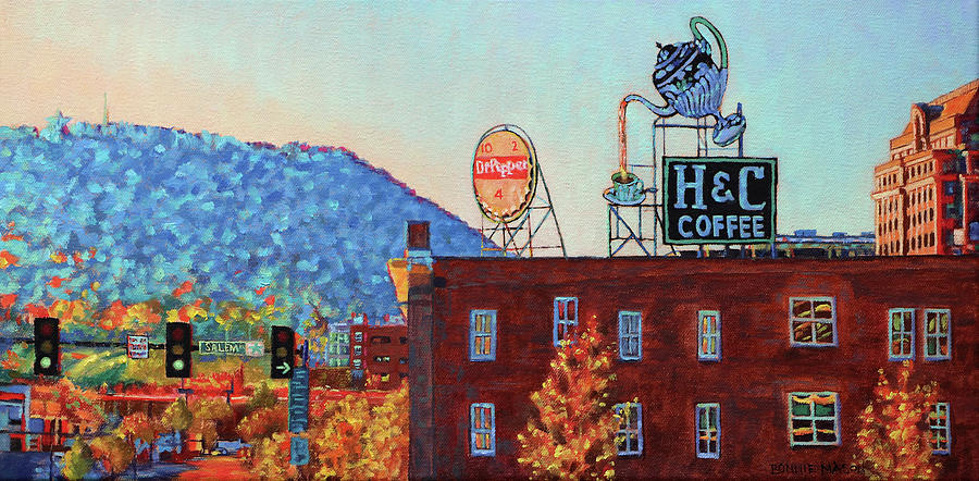Mill Mountain Star Painting - Leading Green - Antique Signs Of Roanoke Virginia by Bonnie Mason