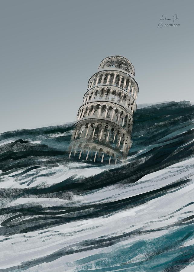 Leaning Tower Of Pisa Paint1 Digital Art