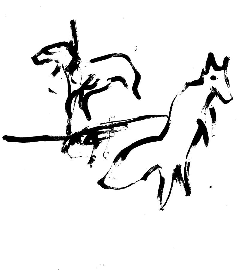 Leaping fox by Artist Dot