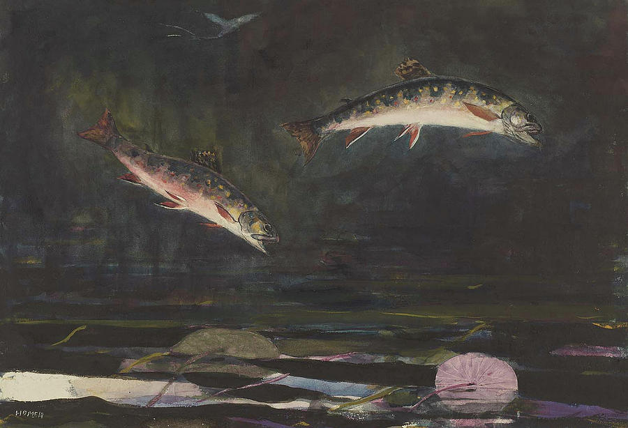 Painting Painting - Leaping Trout by Winslow Homer