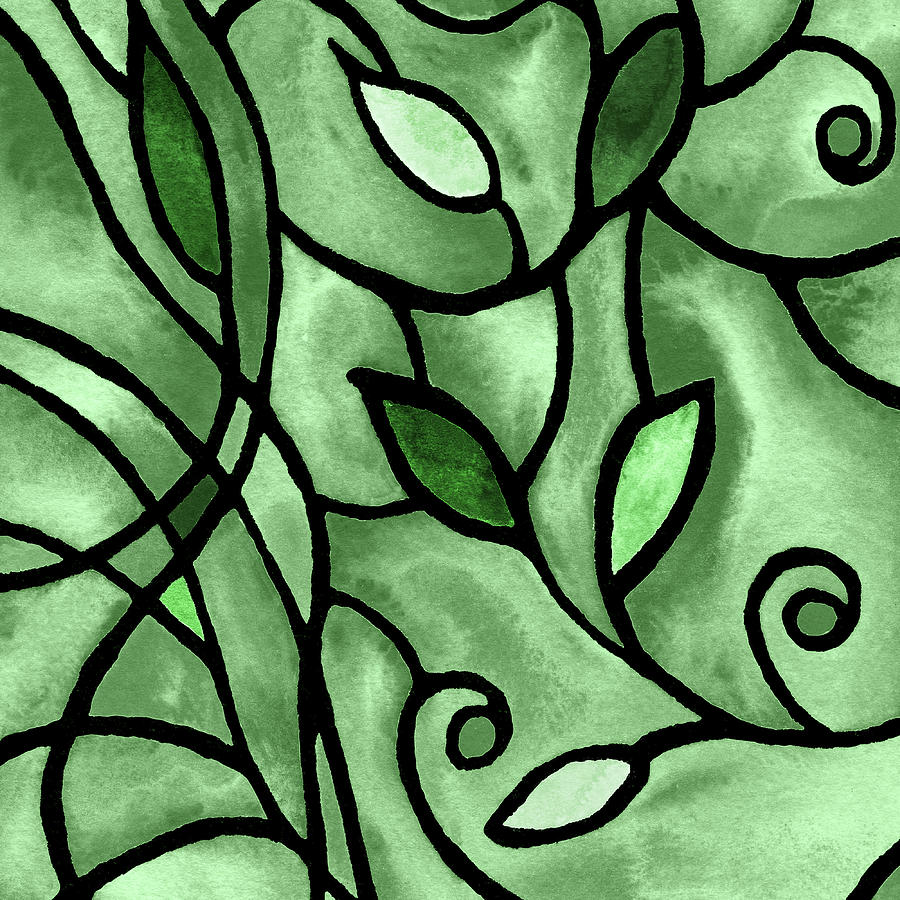 Leaves And Curves Art Nouveau Style X Painting