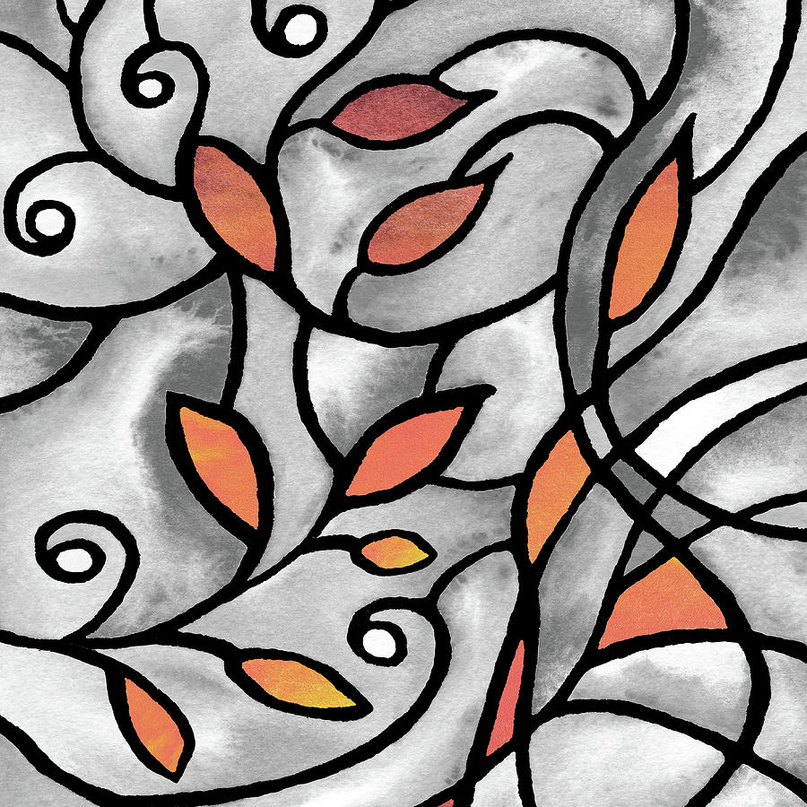 Gray Painting - Leaves And Curves Art Nouveau Style Xii by Irina Sztukowski