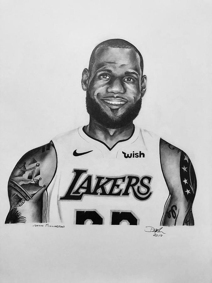 Lebron James Drawing - Lebron James by Devin Millington