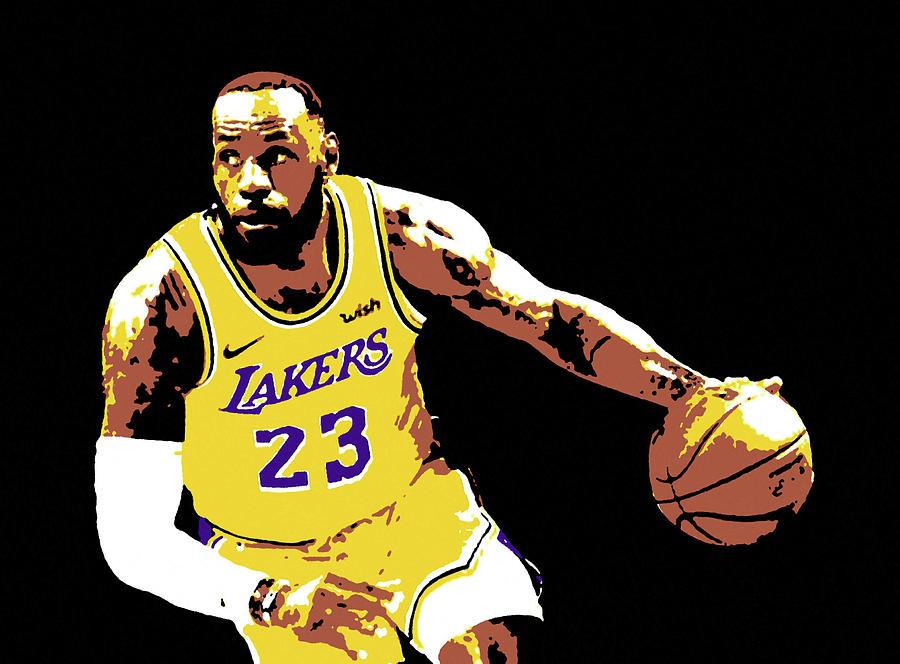 Lebron James Lebron Raymone James Lakers 23 Nba Basket Portrait Painting Painting By Artista Fratta