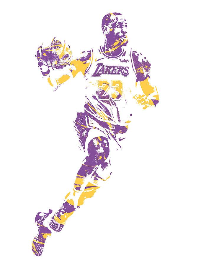 Lebron James Los Angeles Lakers Pixel Art 2 Mixed Media By Joe Hamilton