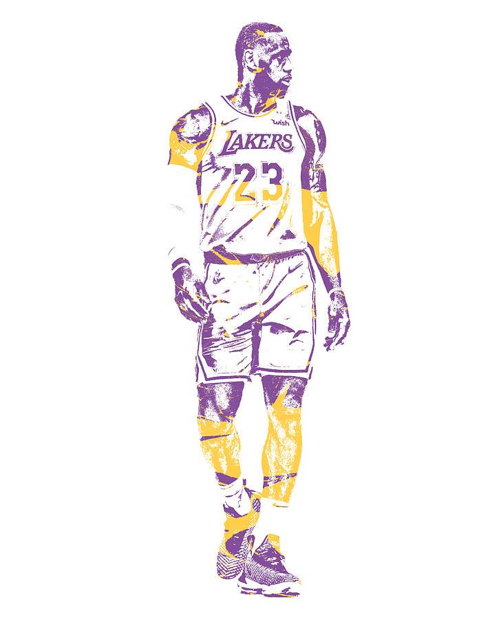 Lebron James Los Angeles Lakers Pixel Art 4 Mixed Media By Joe Hamilton