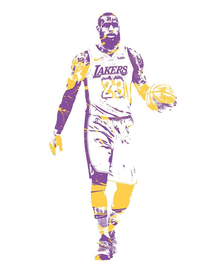 Lebron James Los Angeles Lakers Pixel Art 5 Mixed Media By Joe Hamilton