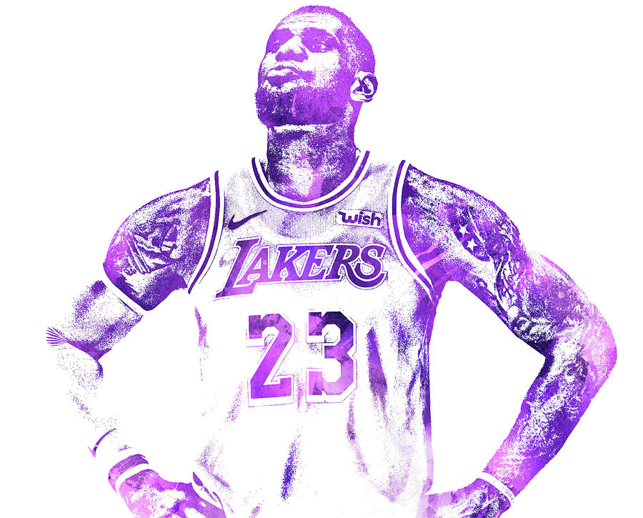 Lebron James Los Angeles Lakers Water Color Pixel Art 30 Mixed Media By Joe Hamilton