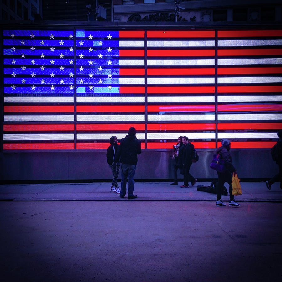 Times Square Photograph - Led American Flag by Michael Gerbino