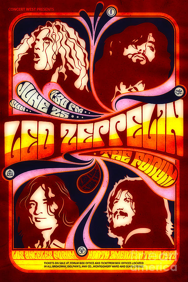 Poster Digital Art - Led Zeppelin 72 Tour by Steven Parker