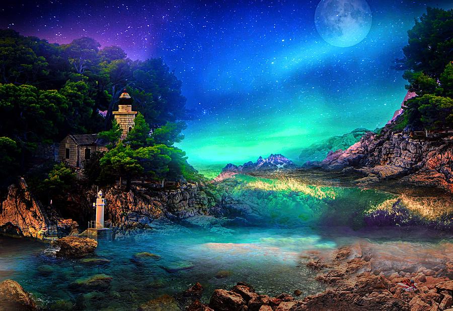 Moon Digital Art - Left In Peace by Jasmina Seidl