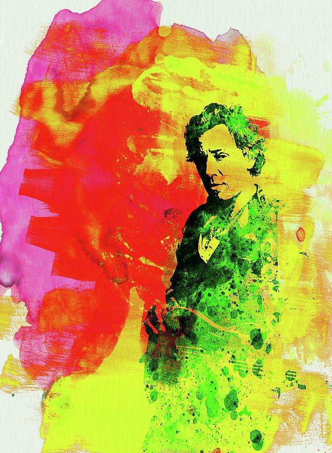 Bruce Springsteen Mixed Media - Legendary Bruce Watercolor by Naxart Studio