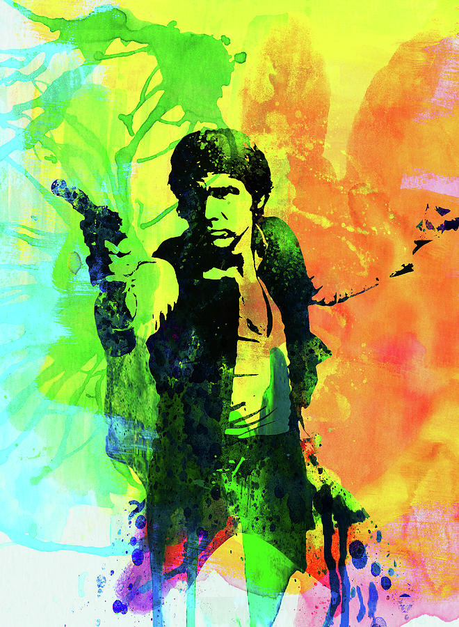 Han Solo Mixed Media - Legendary Han Solo Watercolor by Naxart Studio