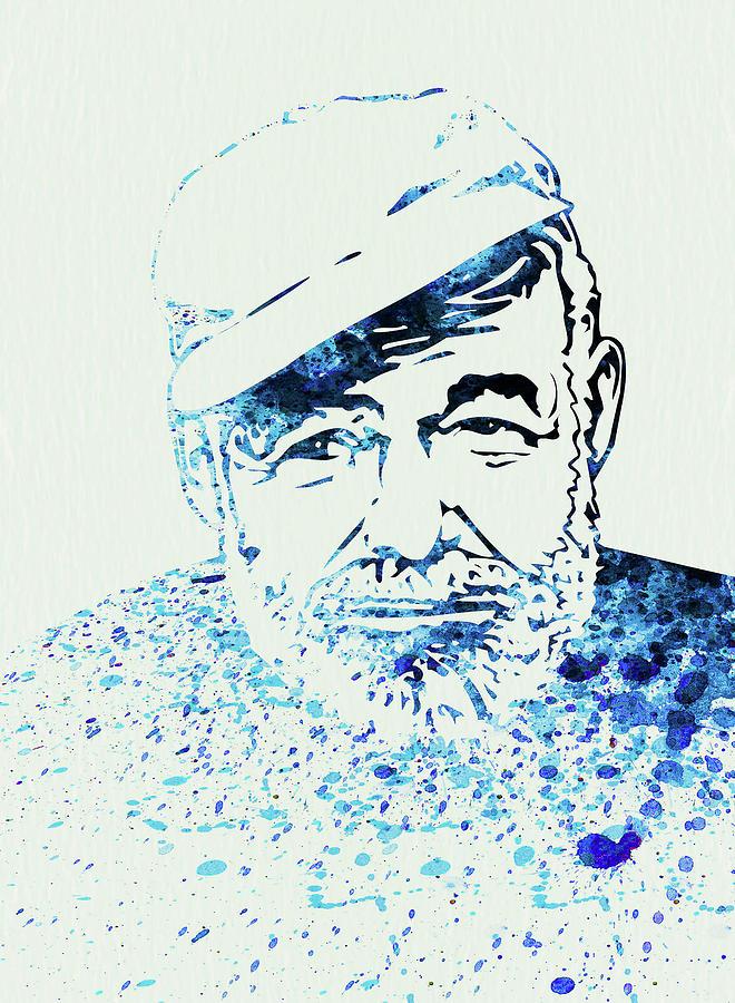 Hemingway Mixed Media - Legendary Hemingway Watercolor by Naxart Studio