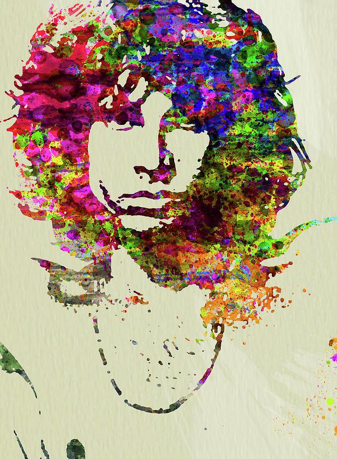 Jim Morrison Mixed Media - Legendary Jim Morrison Watercolor by Naxart Studio