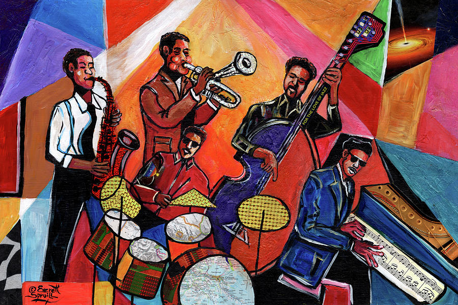African Mask Mixed Media - Legends of Jazz by Everett Spruill