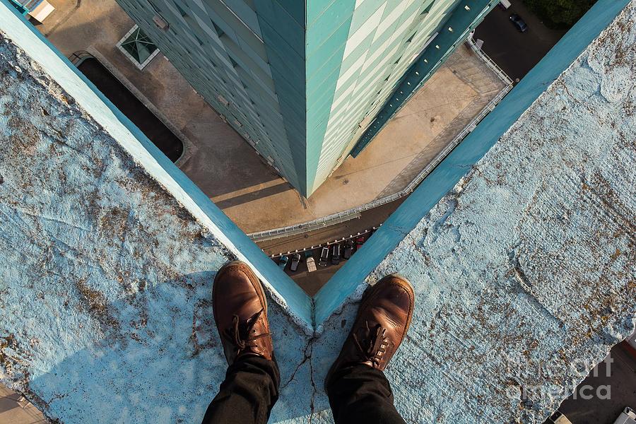 Capital Photograph - Legs Of A Man Standing On The Edge by Alexander Voskresensky