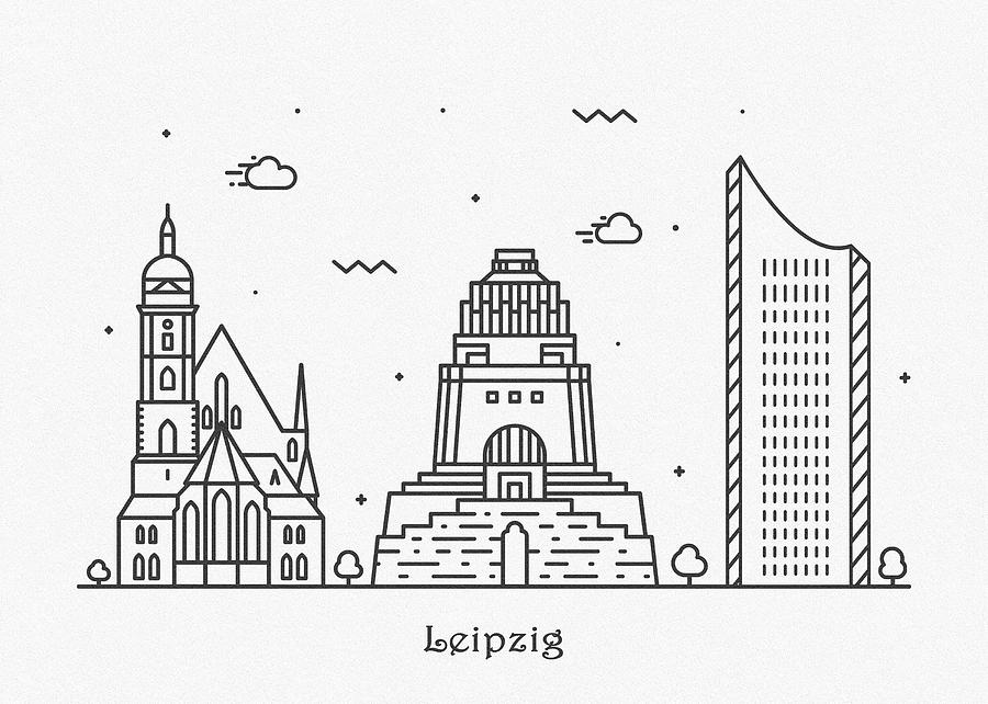 Leipzig Cityscape Travel Poster Drawing By Inspirowl Design