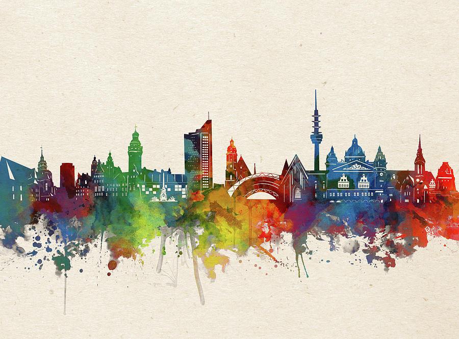 Leipzig Digital Art - Leipzig Skyline Watercolor by Bekim M