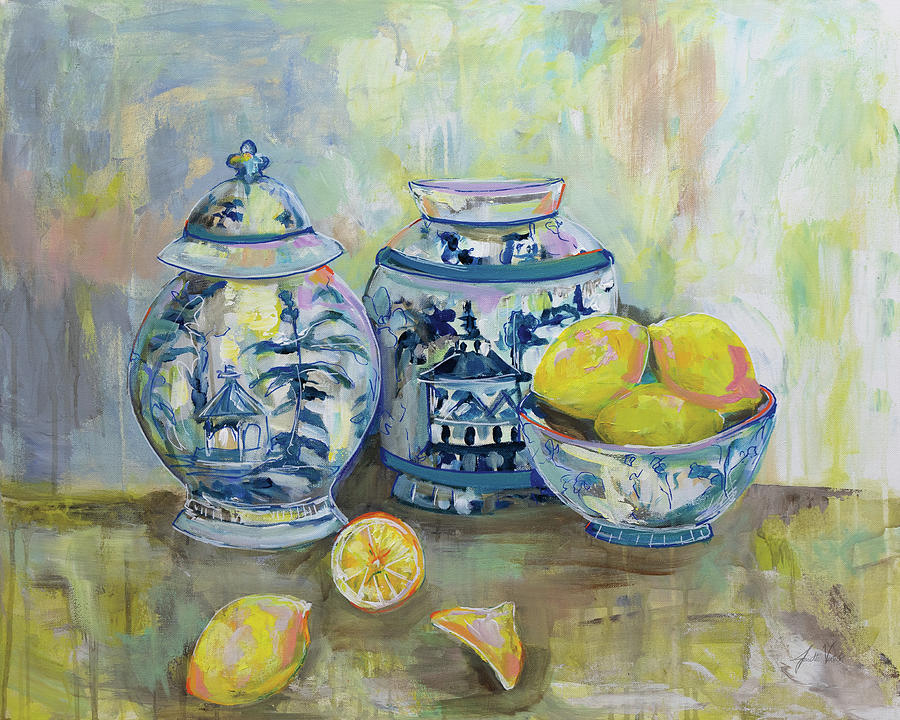 Blue Painting - Lemon Life by Jeanette Vertentes