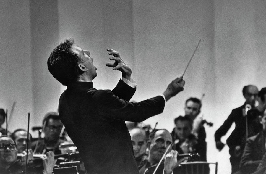 Leonard Bernstein Conducting Photograph by Pictorial Parade