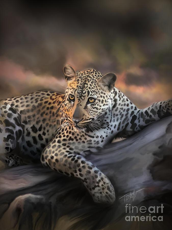 Javan Leopard Mom Mixed Media