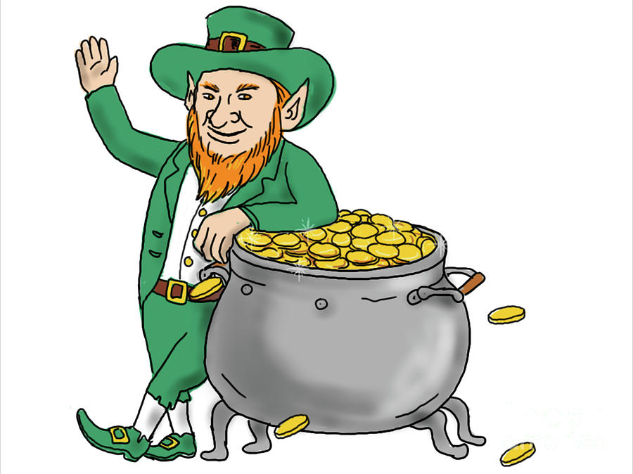 Leprechaun Standing By Pot Of Gold Drawing Digital Art by ...