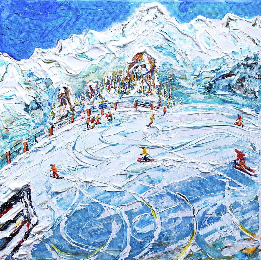 Les Arcs Mt Blanc Ski Print by Pete Caswell