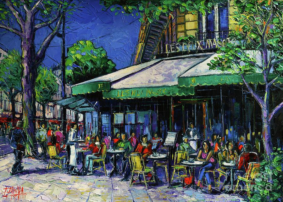 Les Deux Magots Painting - Les Deux Magots Paris by Mona Edulesco