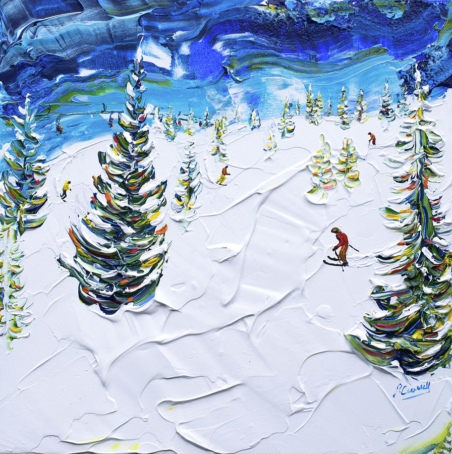 Les Houches Skiing Print by Pete Caswell