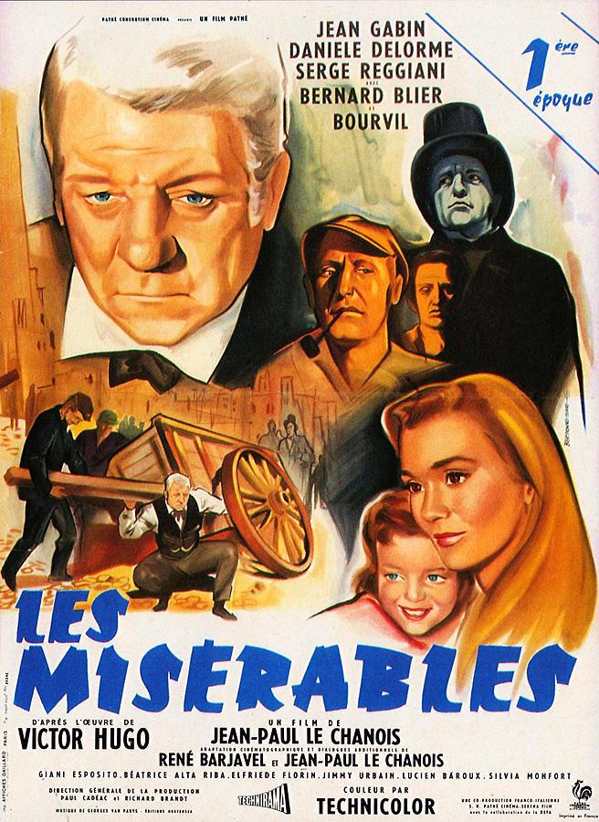 French Cinema Mixed Media - Les Miserables 1958 French Movie Classic by Zal Latzkovich
