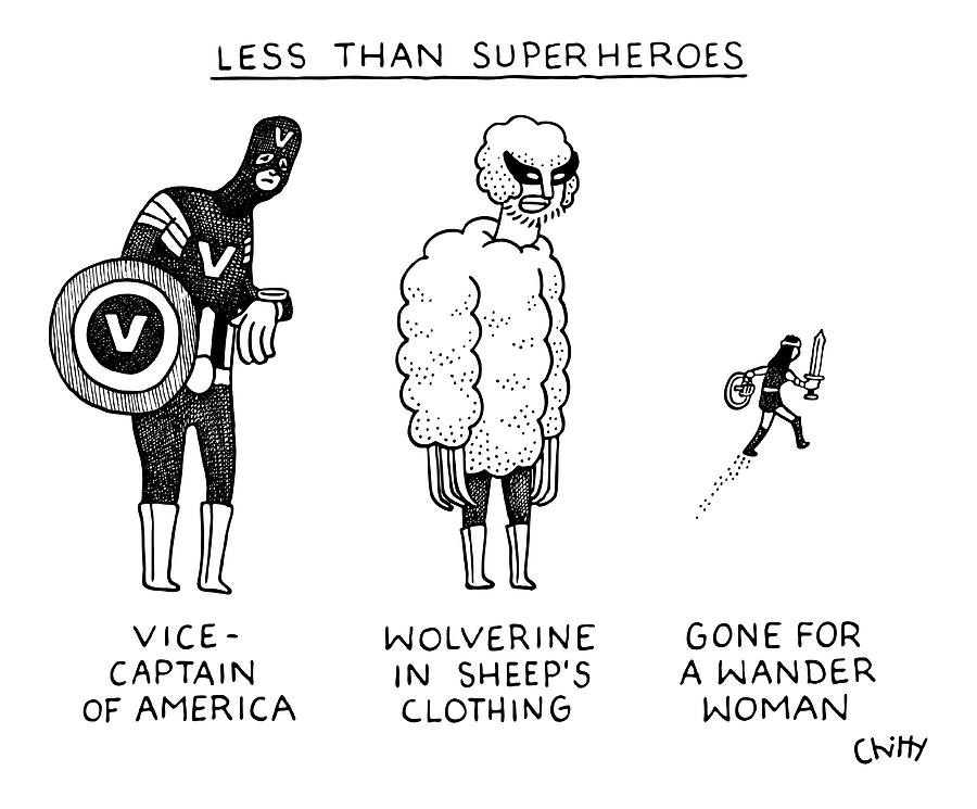 Less Than Super Drawing by Tom Chitty