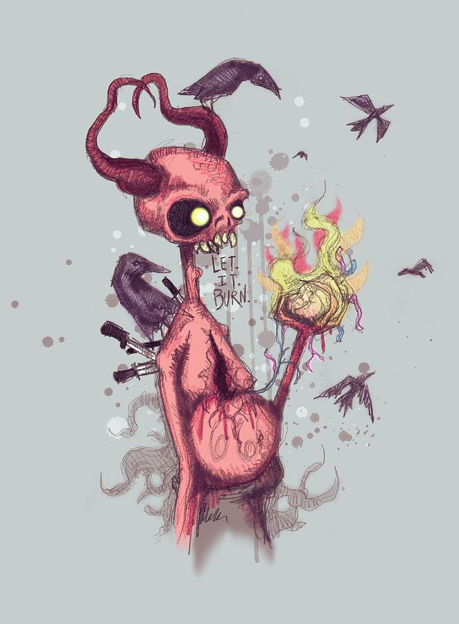 Devil Drawing - Let It Burn by Ludwig Van Bacon
