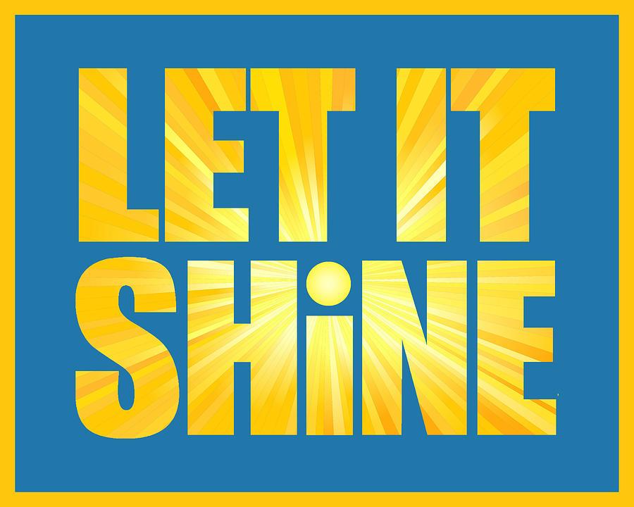 Let It Shine Sun - Yellow Border Digital Art