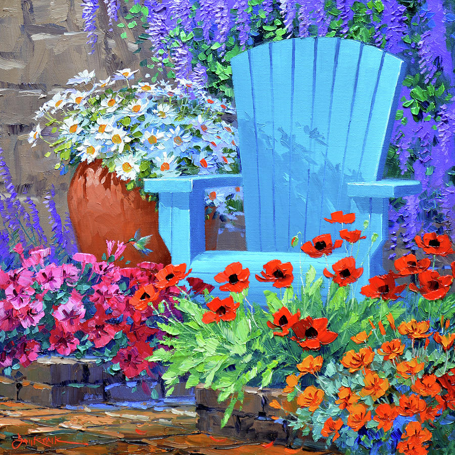 Garden Painting - Let Your Cares Slip Away by Mikki Senkarik