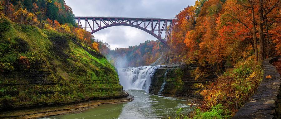 Letchworth Upper Falls Fall Splendor by Mark Papke