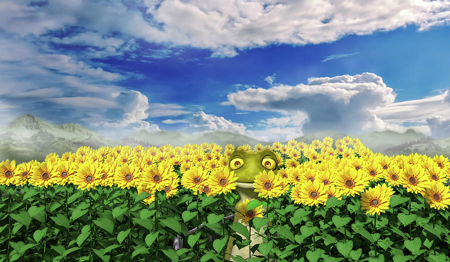 Sunflower Digital Art - Lets Be Friends by Betsy Knapp