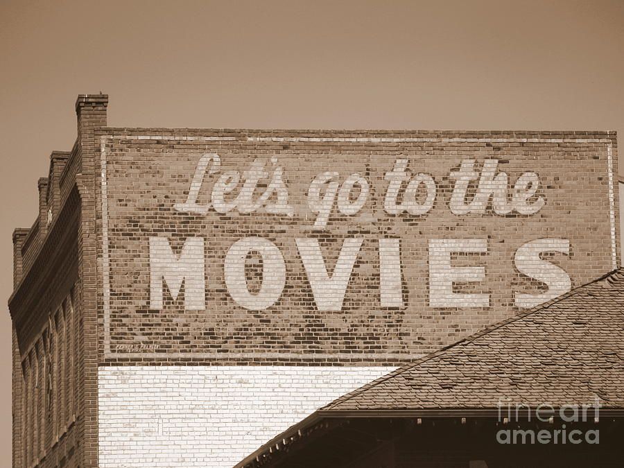 Let's Go to the Movies Sign in Sepia by Carol Groenen